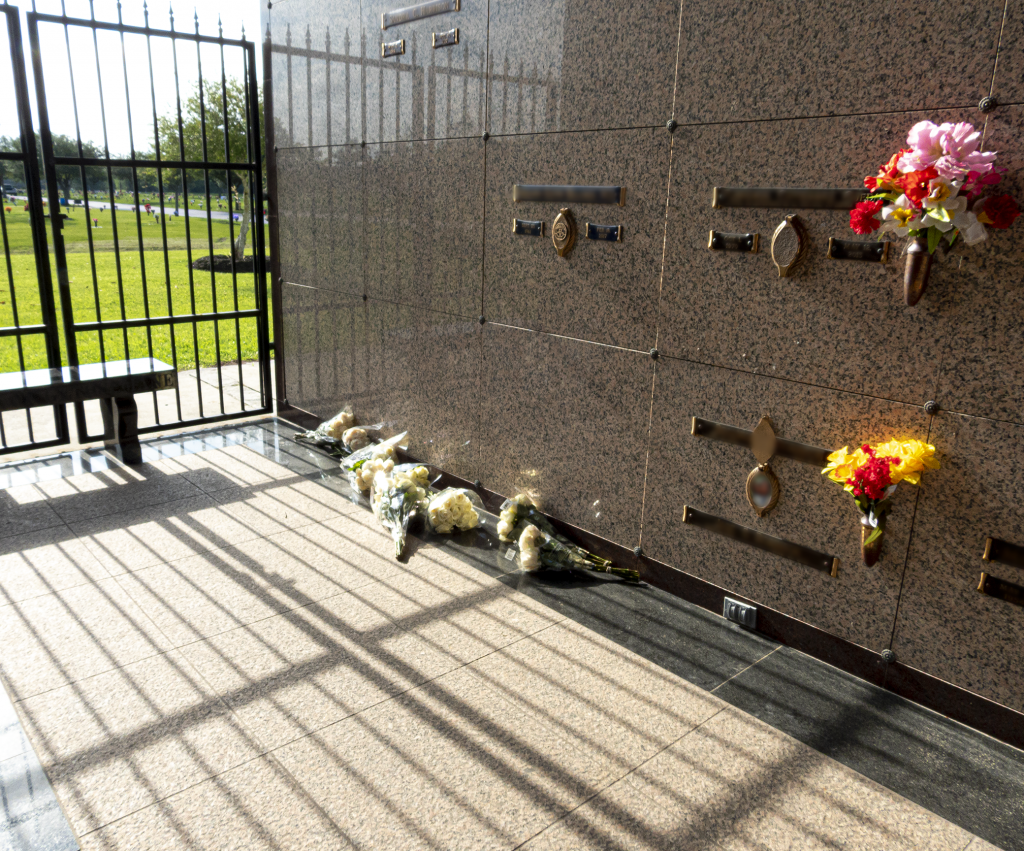 Flowers laying on the ground in the Mausoleum where George Floyd is buried.
